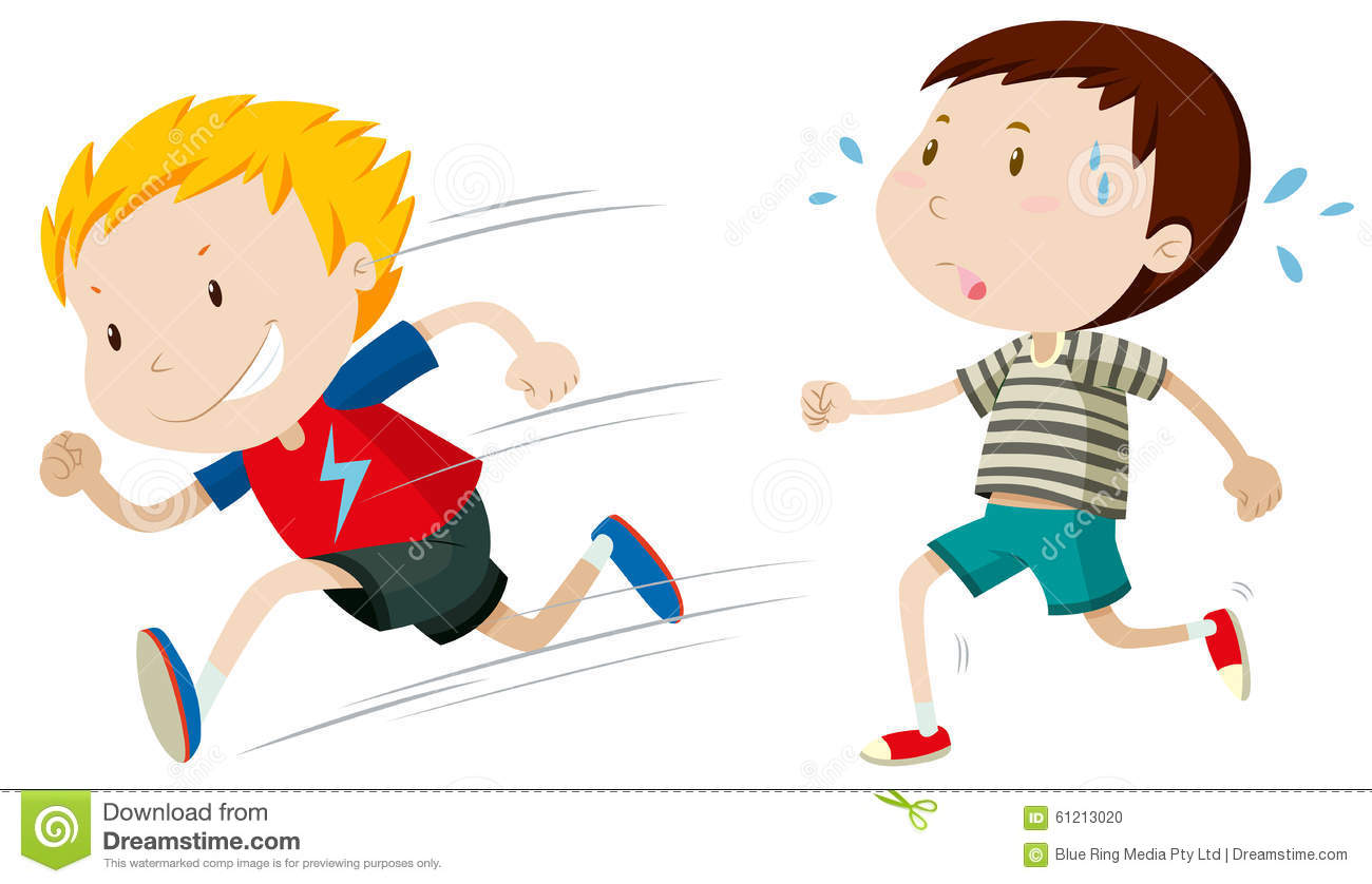 hight resolution of two boys running fast and slow