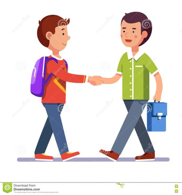Two Boys Shaking Hands Making Peace Stock Vector