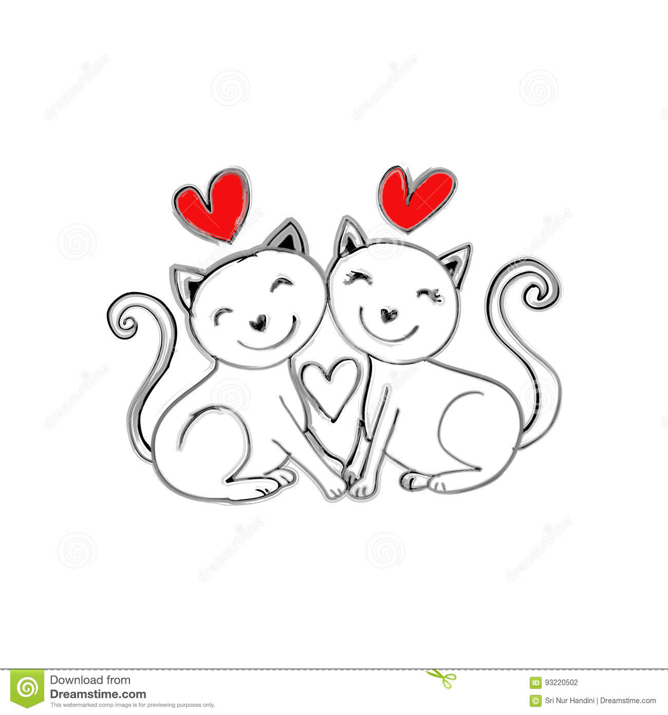 wiring diagram database  two cats love vector illustration