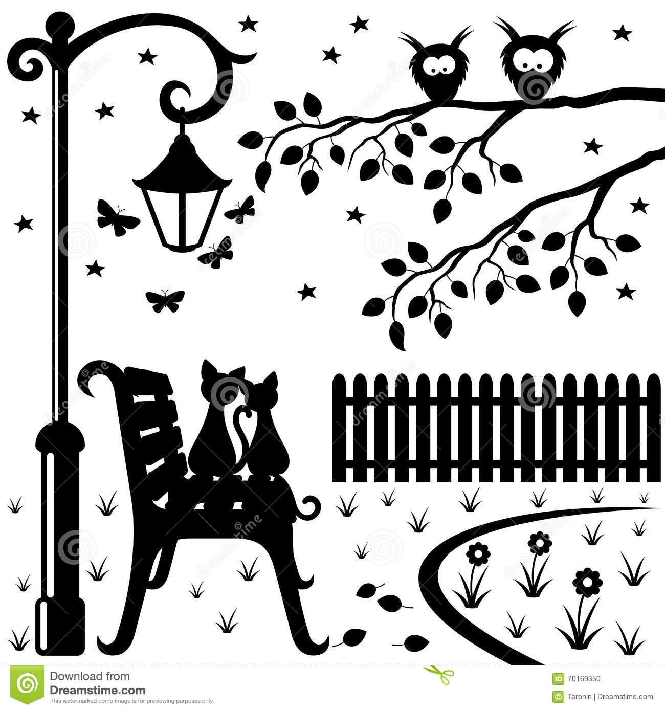 Two Cats Sitting On A Park Bench Stock Vector