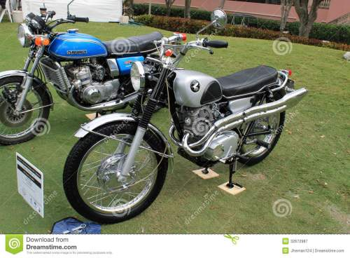 small resolution of two classic japanese motorcycles lined up