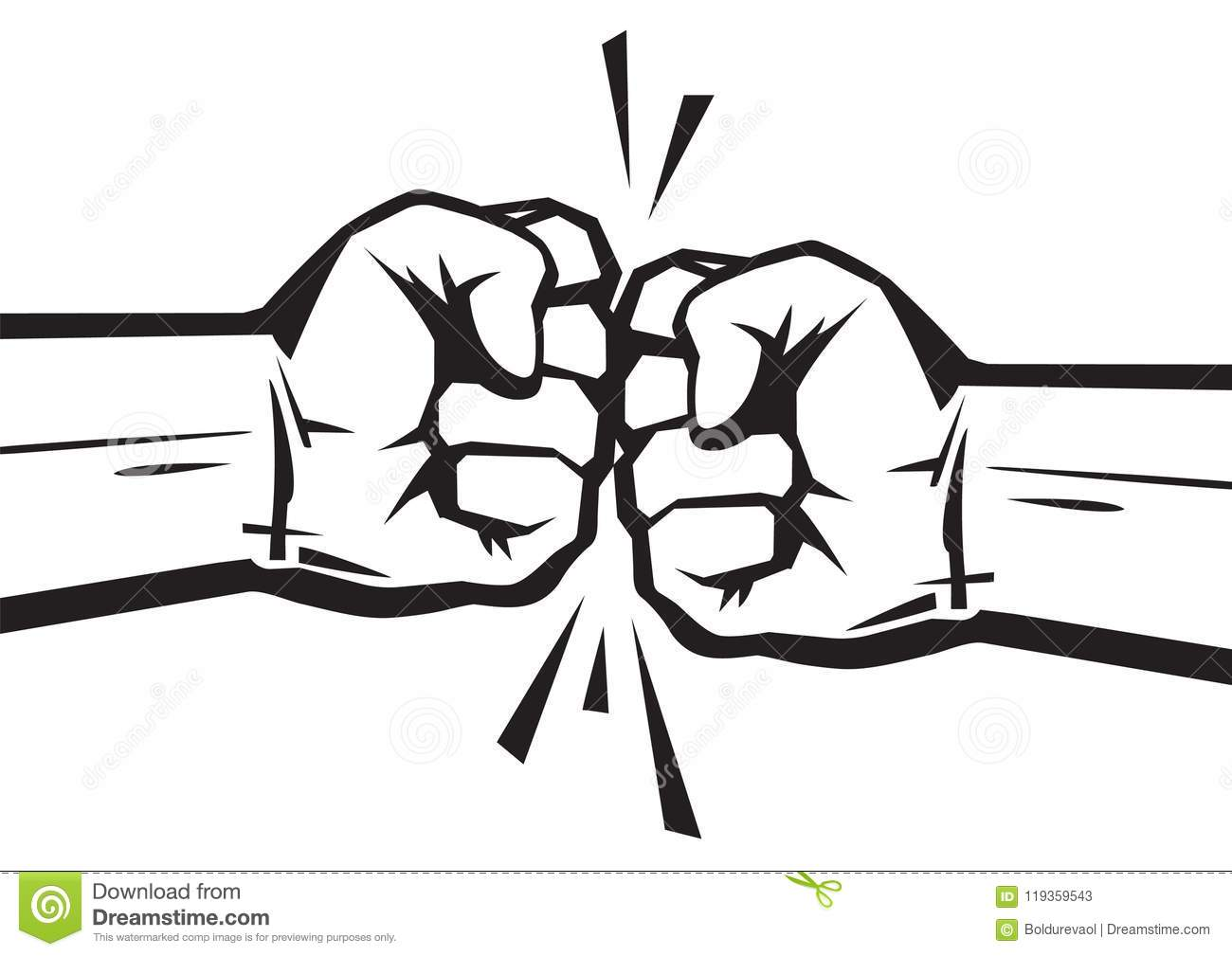 Two Clenched Fists Bumping Together Stock Vector