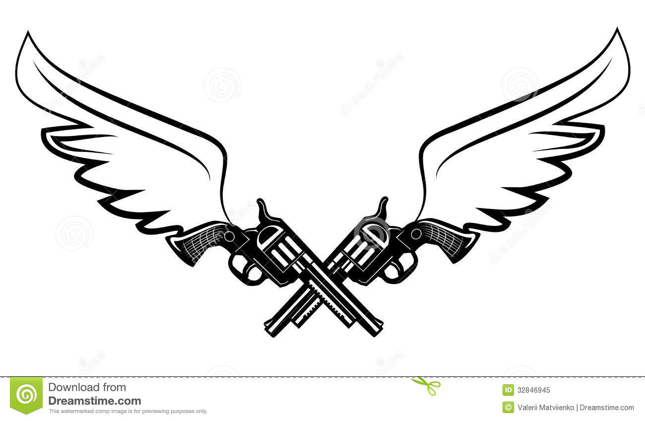 Two Cowboy Revolver Guns Stock Vector Illustration Of