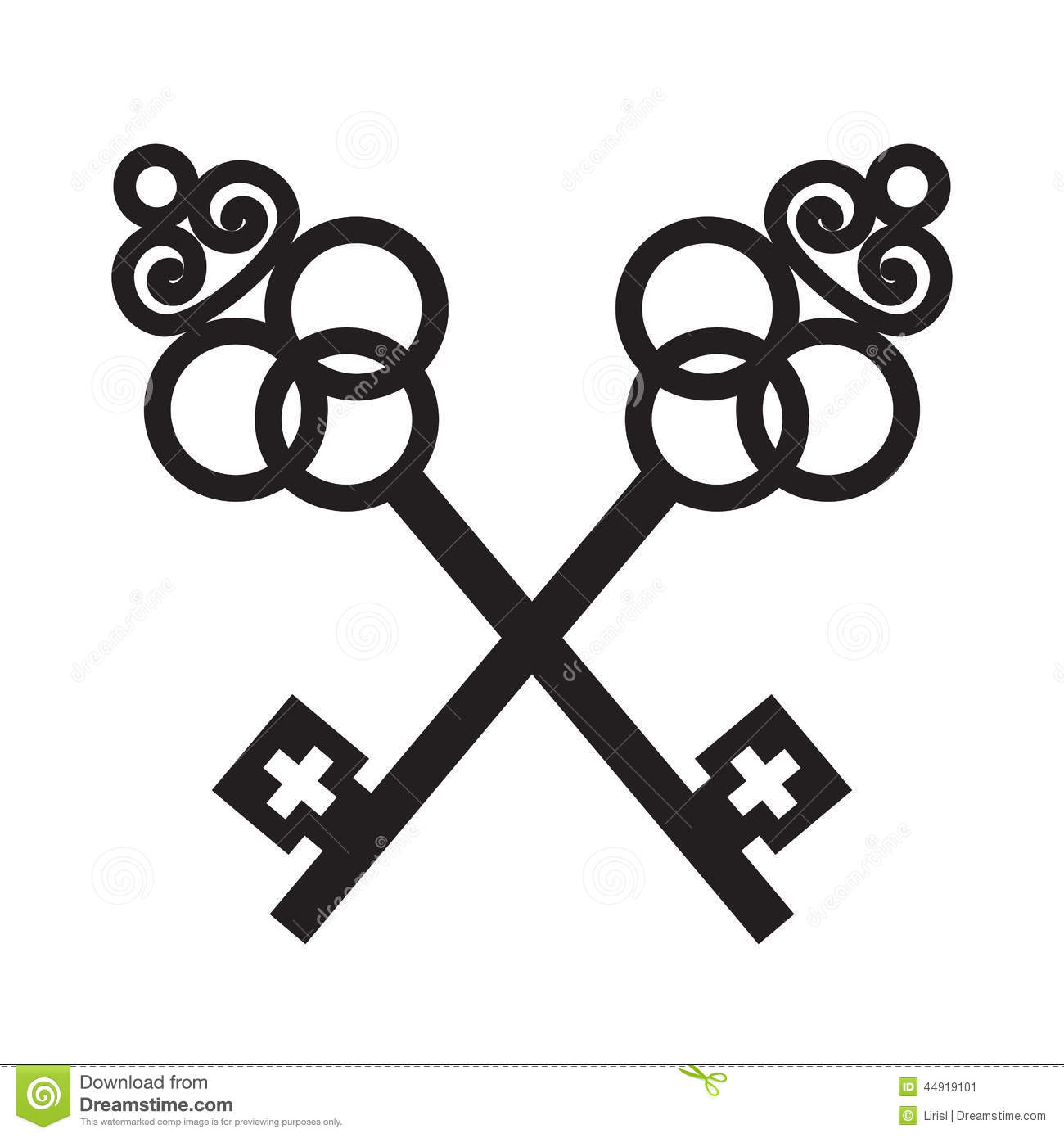 Two Crossed Ancient Keys Stock Vector Illustration Of