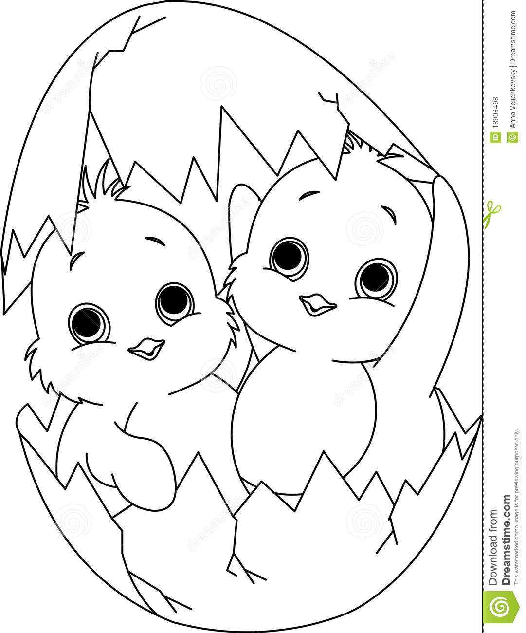 Two Easter Chickens In The Egg. Coloring Page Royalty Free