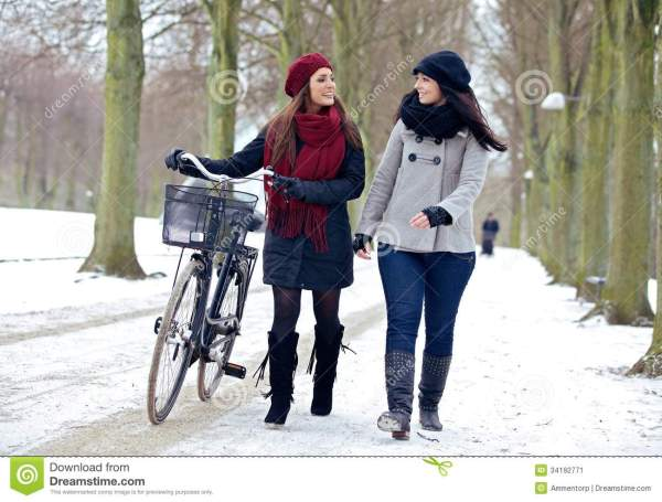 Two Friends Enjoying Walk In Winter Park Stock - 34192771