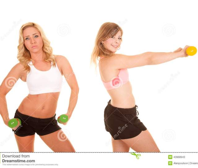 Two Girls Sports Bras Weights Serious