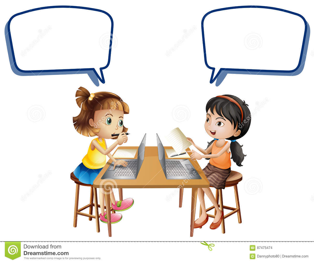 Two Girls Working On Computers With Speech Bubbles Stock