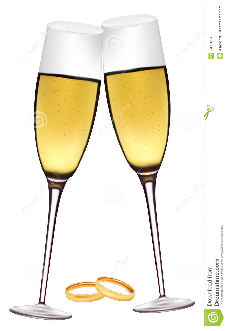 Two Glasses Of Champagne With Wedding Rings Stock Vector