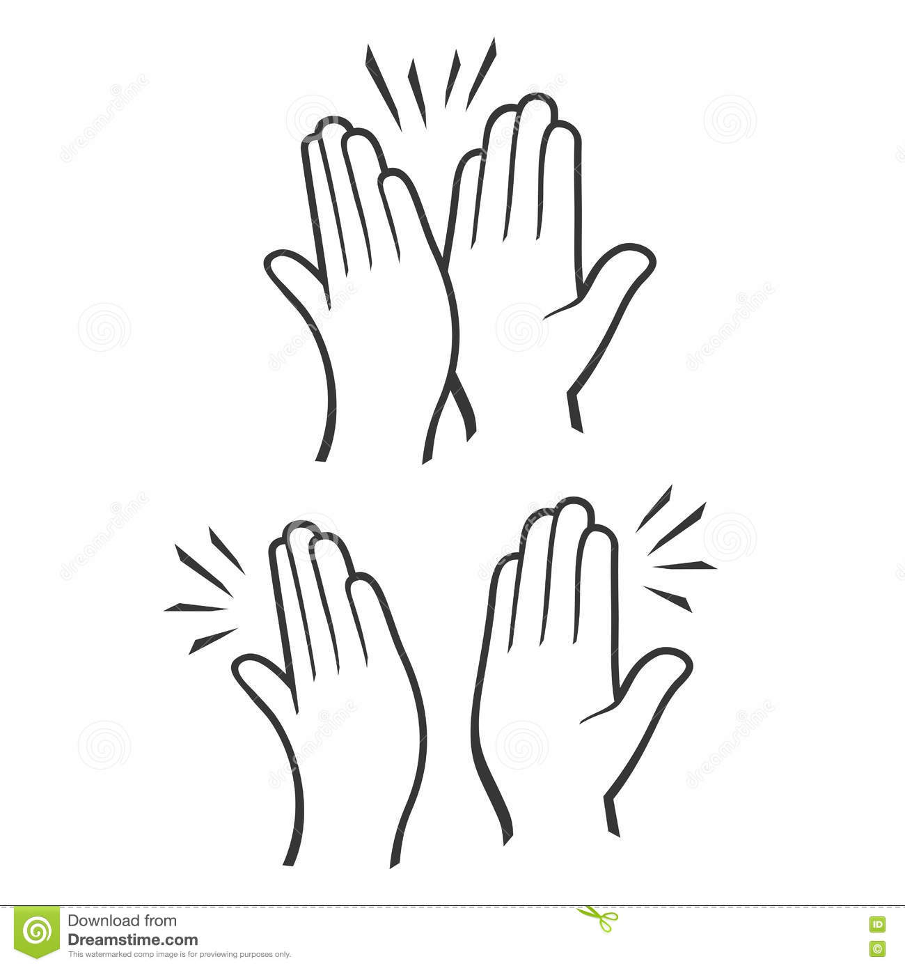 Two Hands Giving A High Five Icons Set. Vector Stock