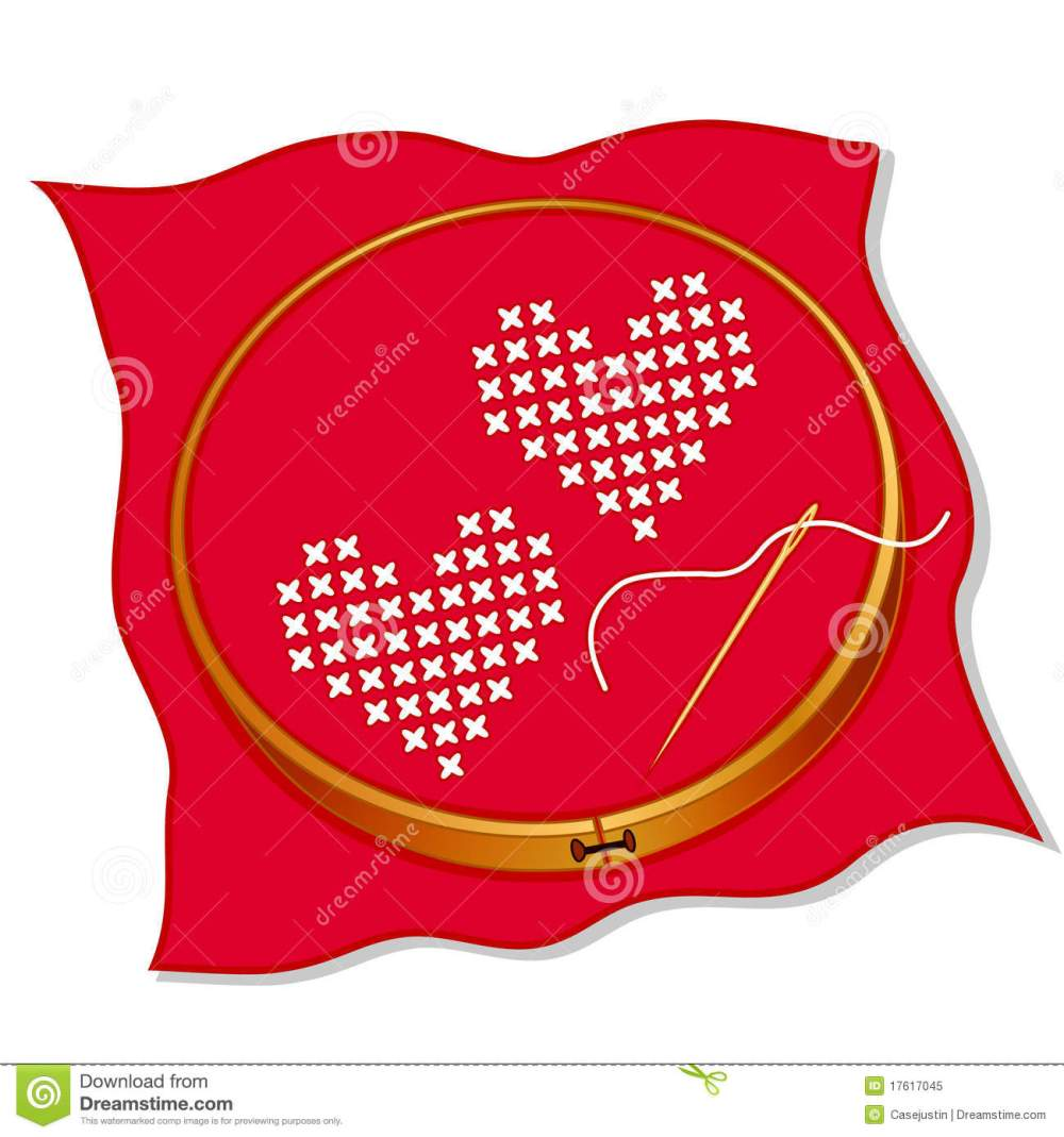 medium resolution of two hearts cross stitch embroidery