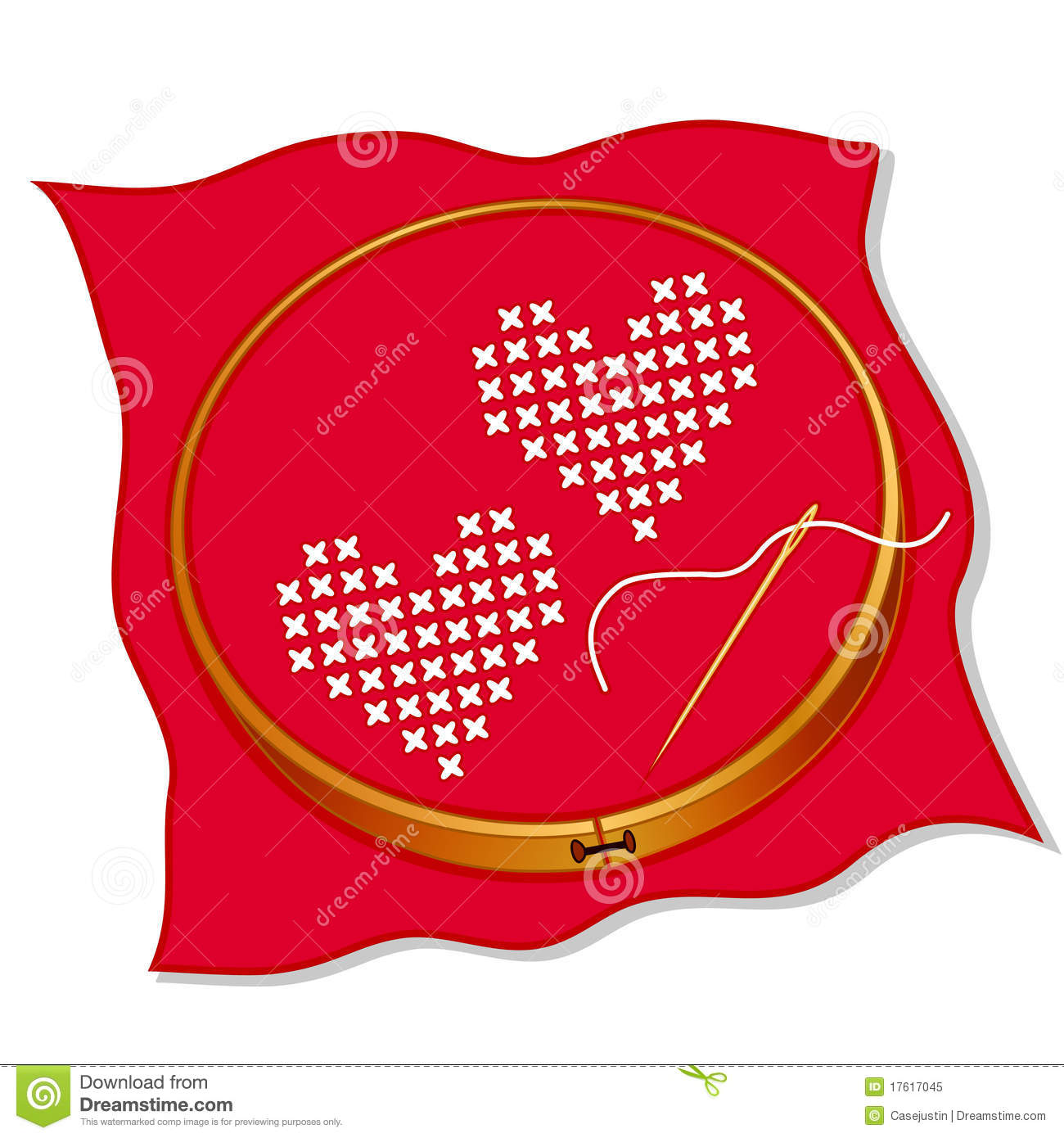 hight resolution of two hearts cross stitch embroidery