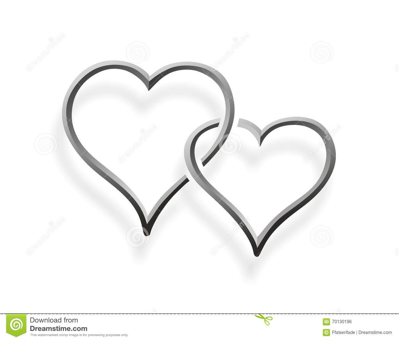 Two Hearts Entwined Stock Illustration Illustration Of
