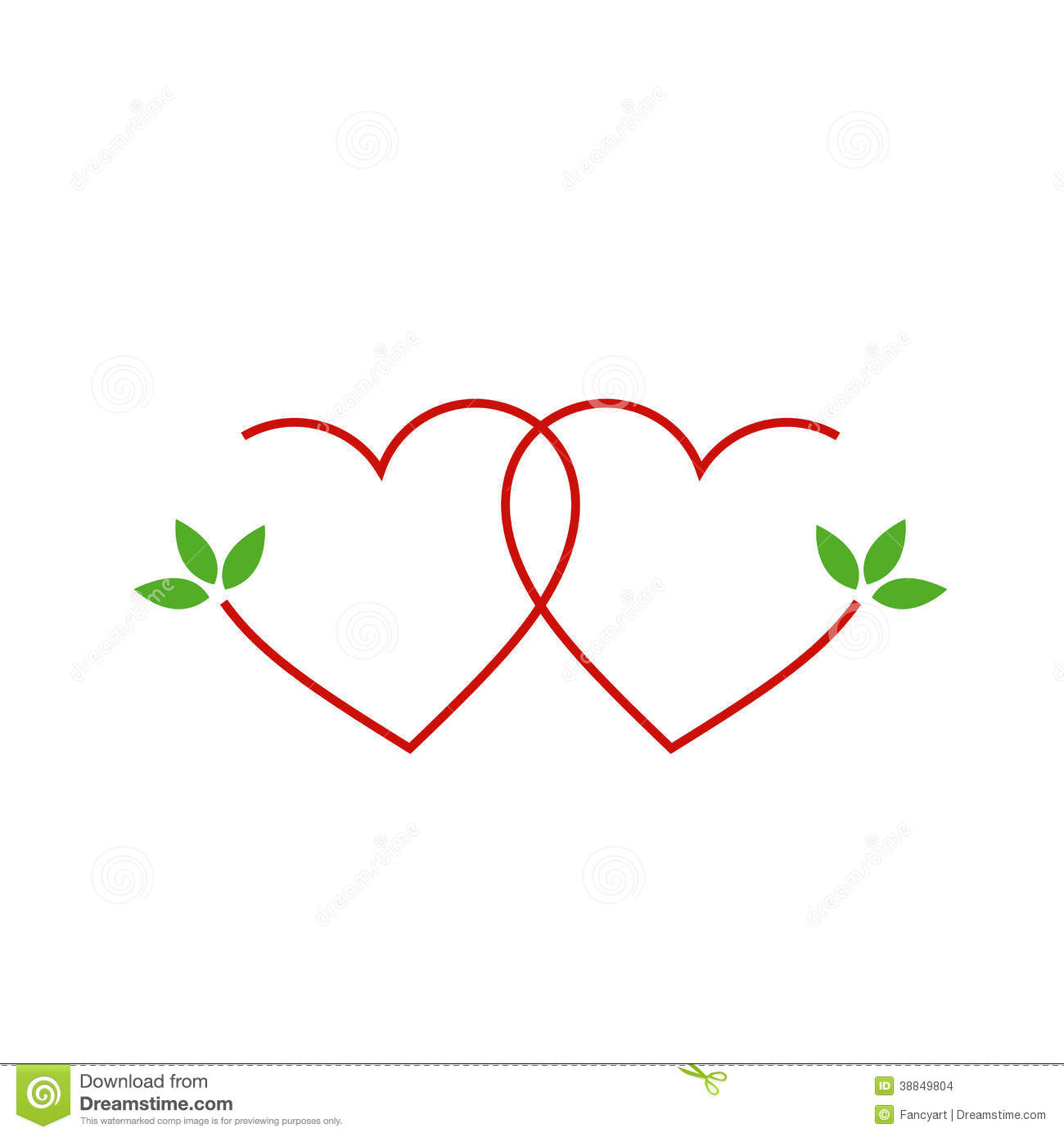 Two Hearts With Leaves Stock Vector
