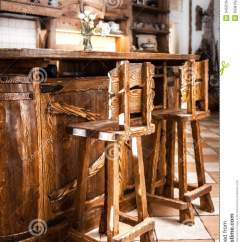 Kitchen Table With 4 Chairs Sink Sprayer Two High Wooden Bar In Country Style Stock Photo ...