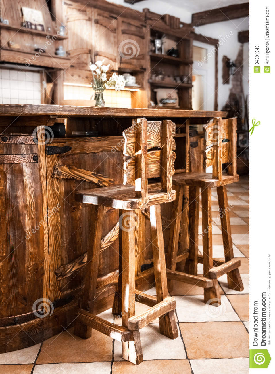 kitchen table with 4 chairs drop leaf cart two high wooden bar in country style stock photo ...