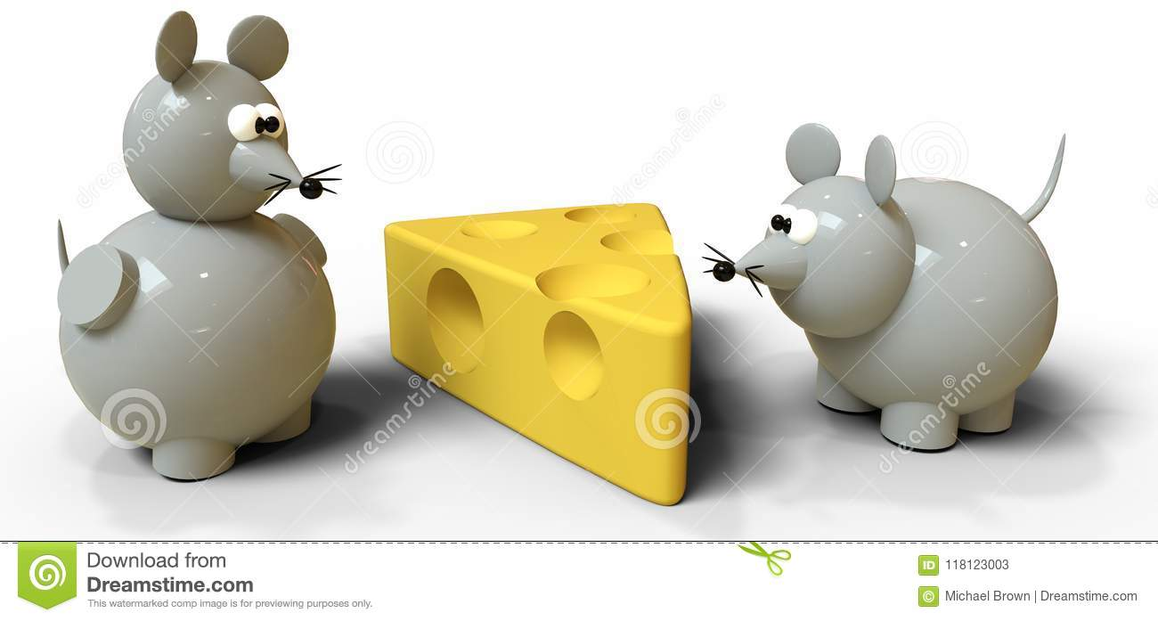 Two Gray Mice Compete For Swiss Cheese Stock Illustration - Illustration of animals. want: 118123003