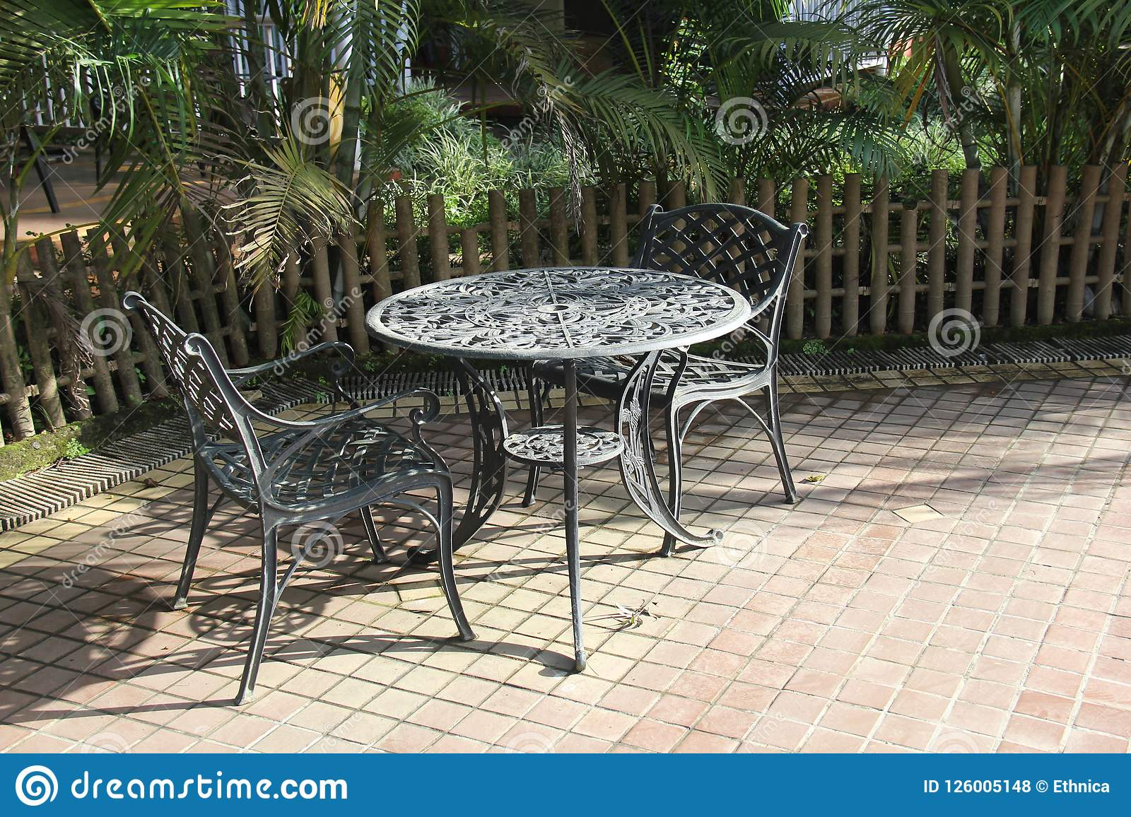 https www dreamstime com two iron chairs round table garden outdoor meeting set up cast coffee black ready to receive guest house image126005148