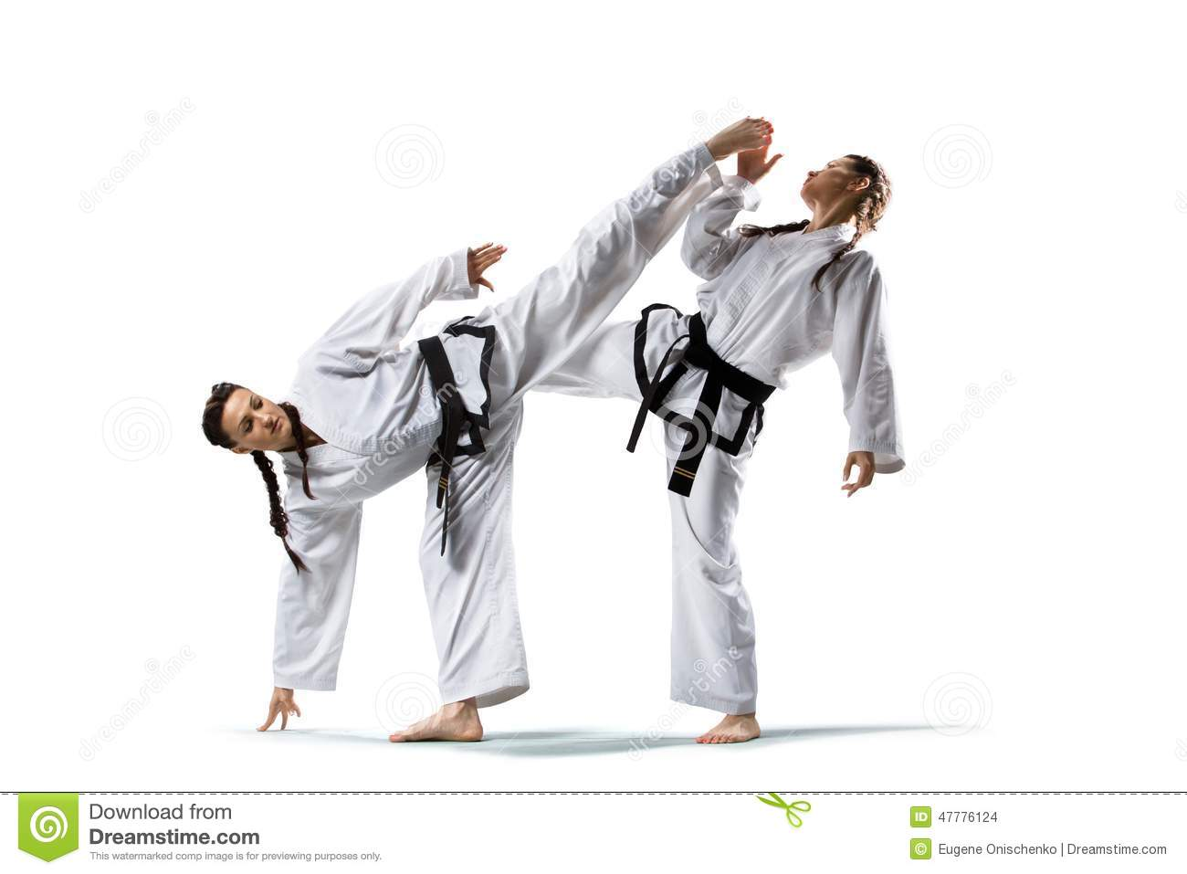 Two Isolated Professional Female Karate Fighters Stock