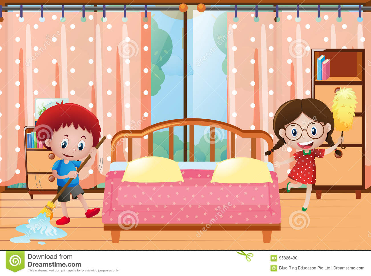 Two Kids Cleaning The Bedroom Stock Vector