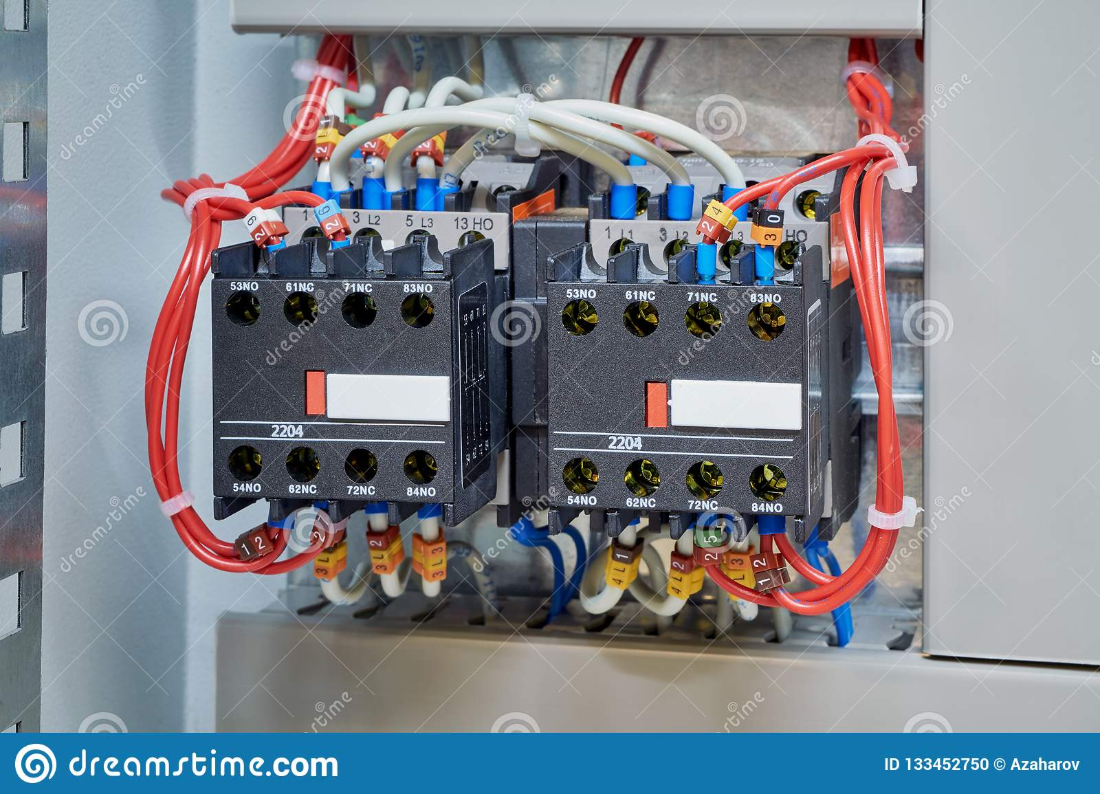 hight resolution of wires are connected to contactors and additional contacts according to the scheme or project modern production of electrical cabinets
