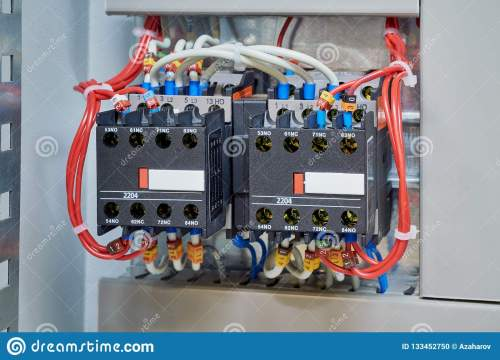 small resolution of wires are connected to contactors and additional contacts according to the scheme or project modern production of electrical cabinets