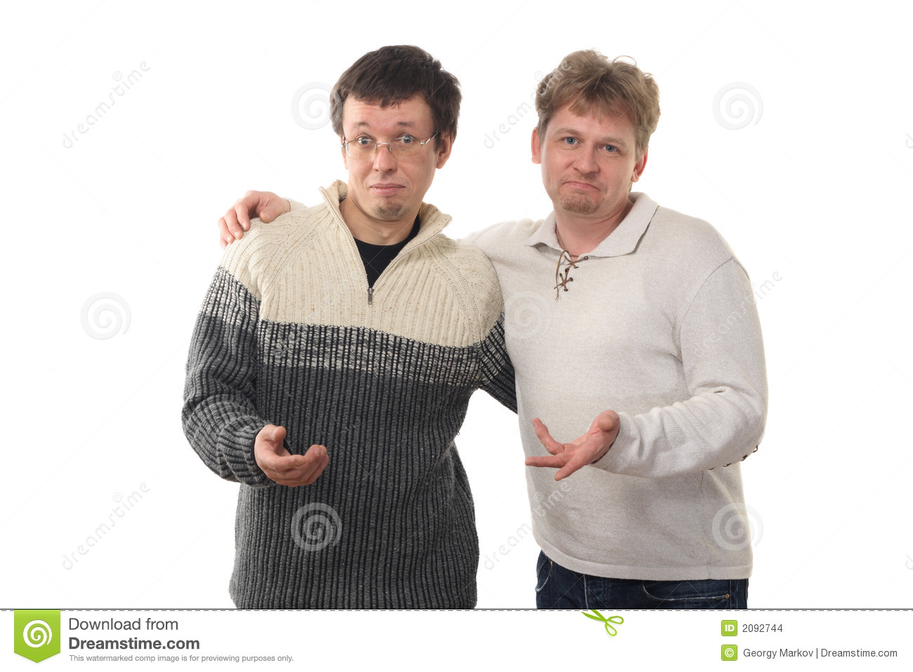 Two Men Holding Out Hands Stock Photo Image Of Baffle