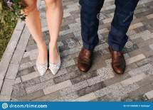 Wedding Shoes Feet Man And Woman Stone Road Stock
