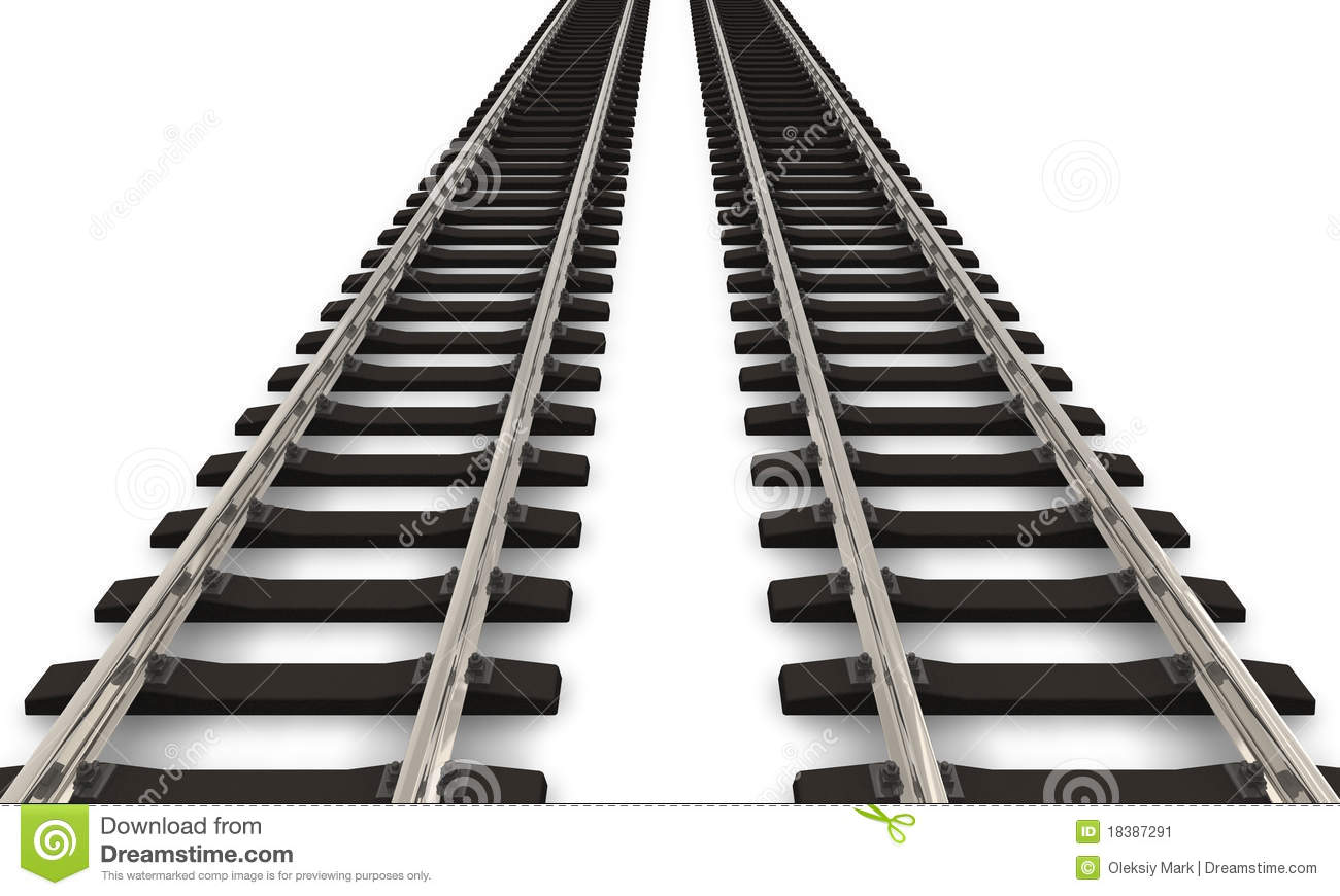 hight resolution of two railroad tracks
