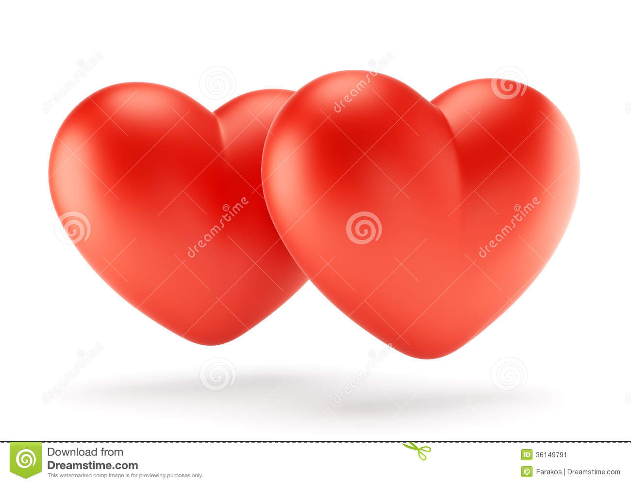 Two Red Hearts Illustration Stock Illustration