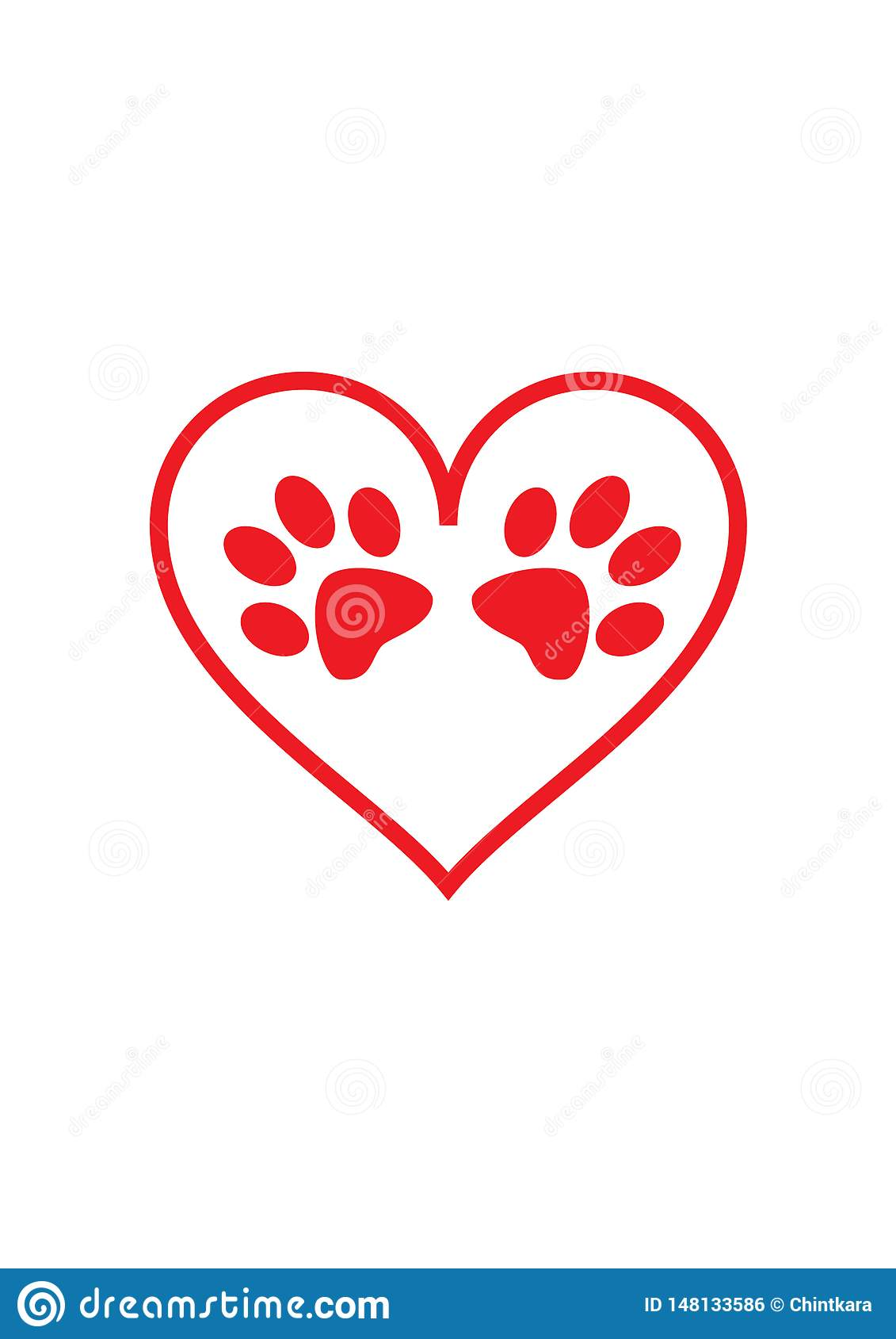 Two Red Paw Shapes Inside Red Heart Shape Stock Vector