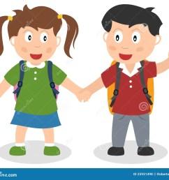 two school kids holding hands [ 1300 x 1130 Pixel ]