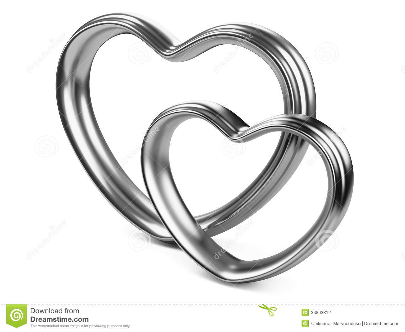 Two Silver Hearts Shape Stock Illustration Illustration