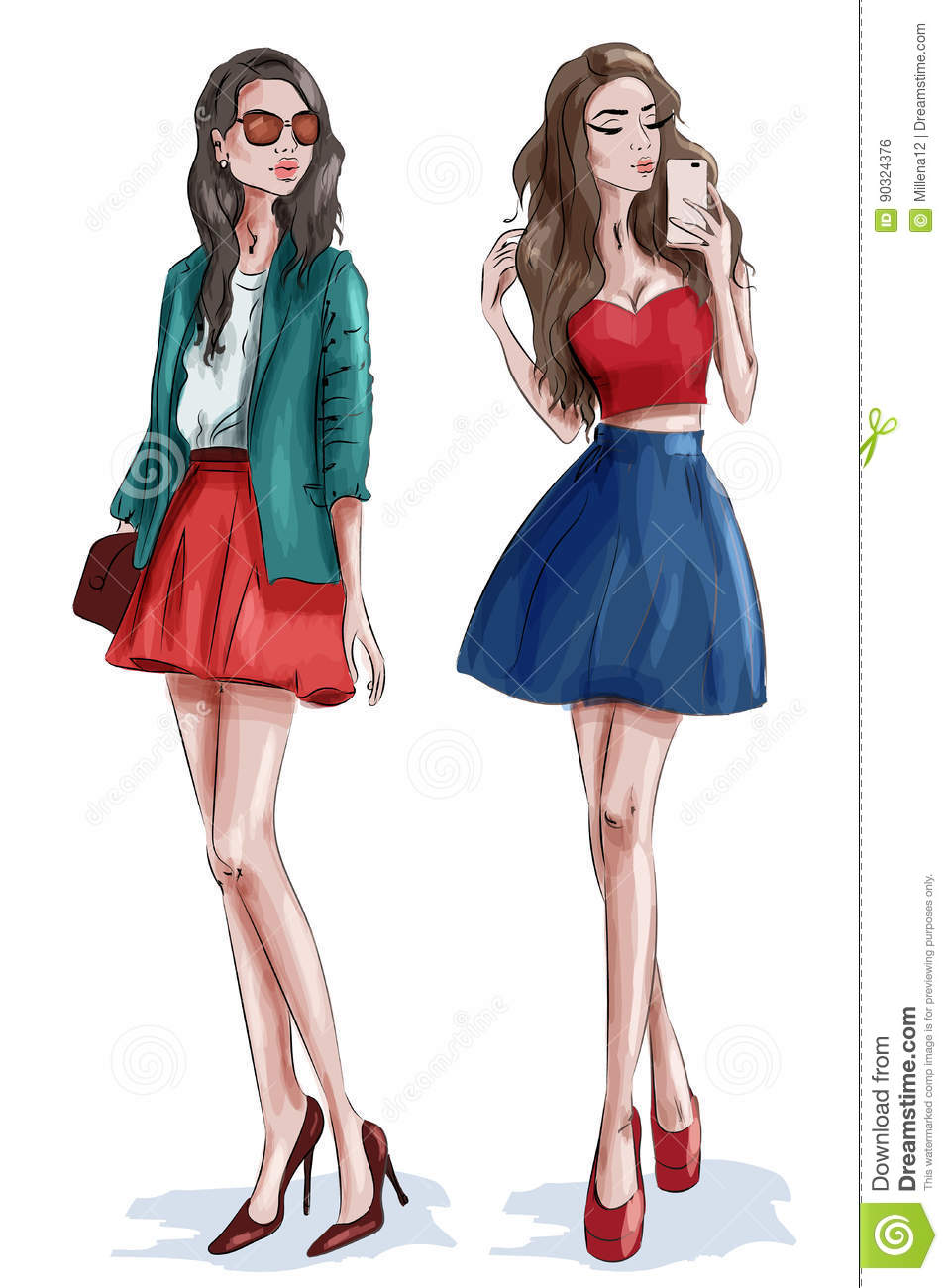 Two Stylish Beautiful Girls With Accessories Women In