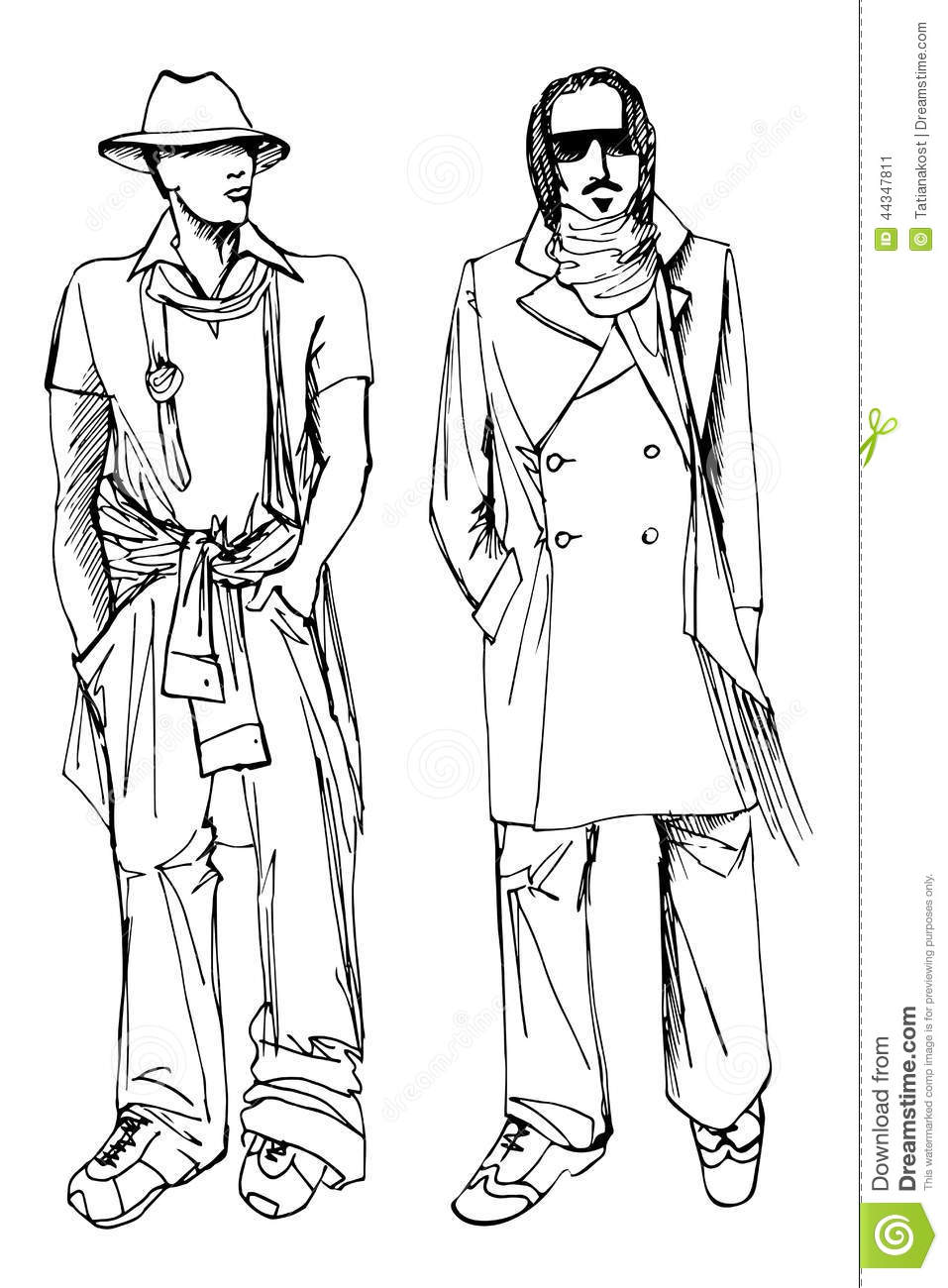 Two Stylish Dude Men .Fashion Vector Sketch Stock Vector