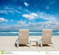 Two Sun Beach Chairs On Beach Royalty Free Stock Photos