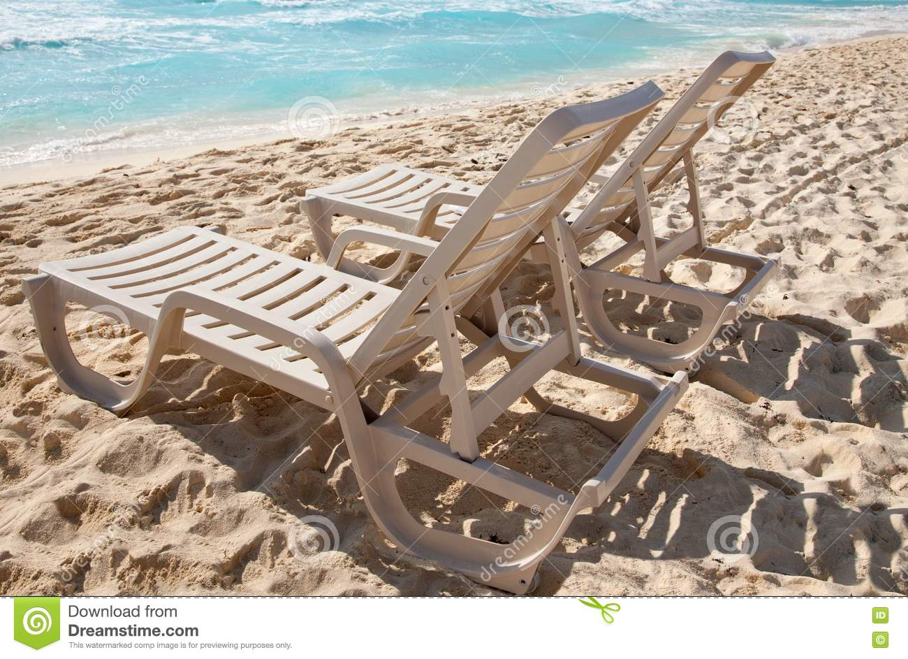 Sunbathing Chairs Two Sunbathing Chairs On The Beach Stock Photo Image Of