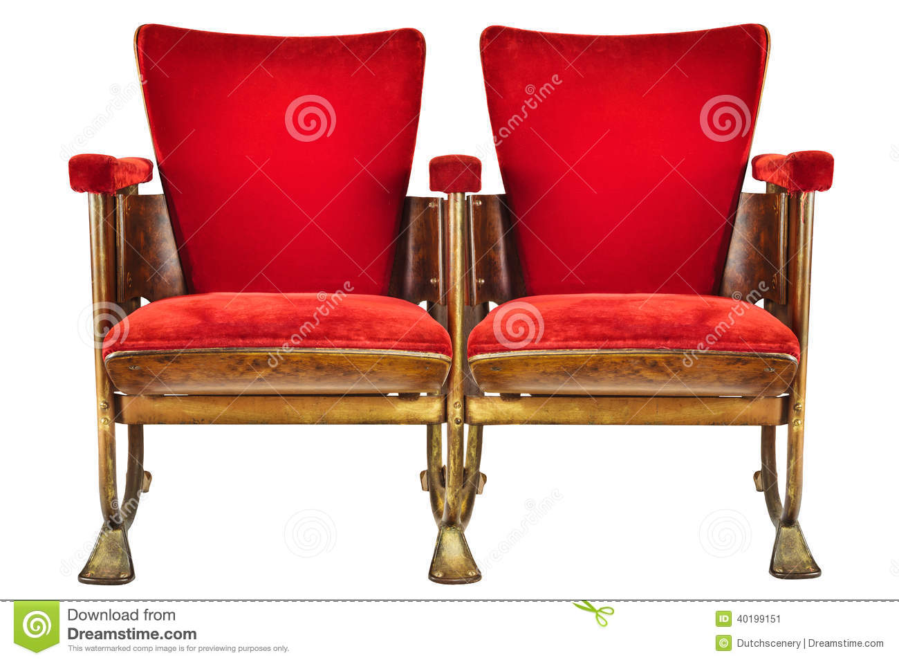 Movie Theater Chairs Two Vintage Movie Theater Chairs Isolated On White Stock