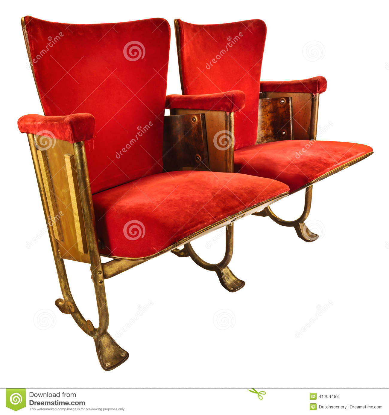 retro white chair ava slipcovered and a half two vintage movie theater chairs isolated on stock