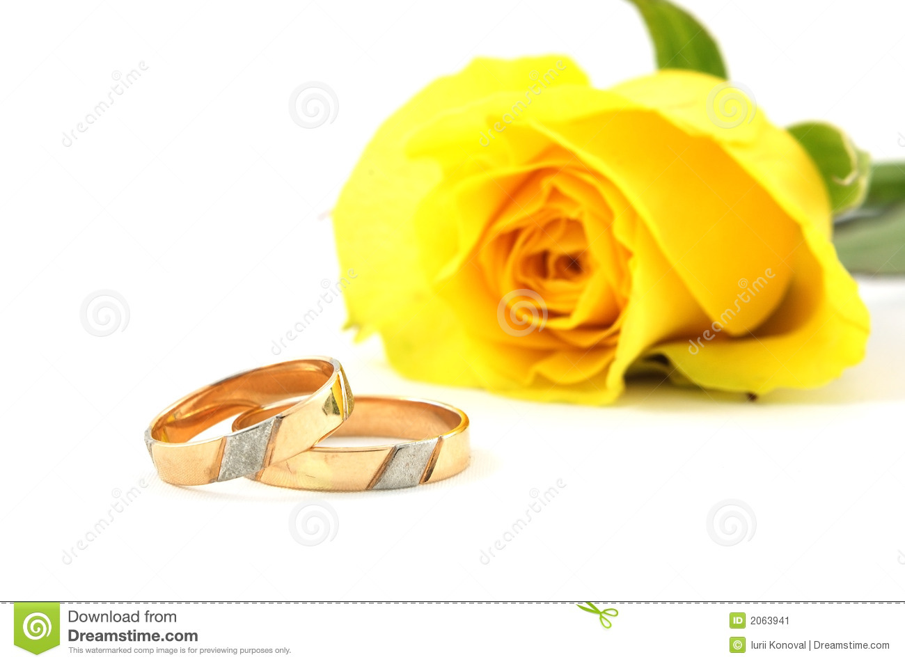 Two Wedding Rings And Yellow Rose Stock Image Image 2063941