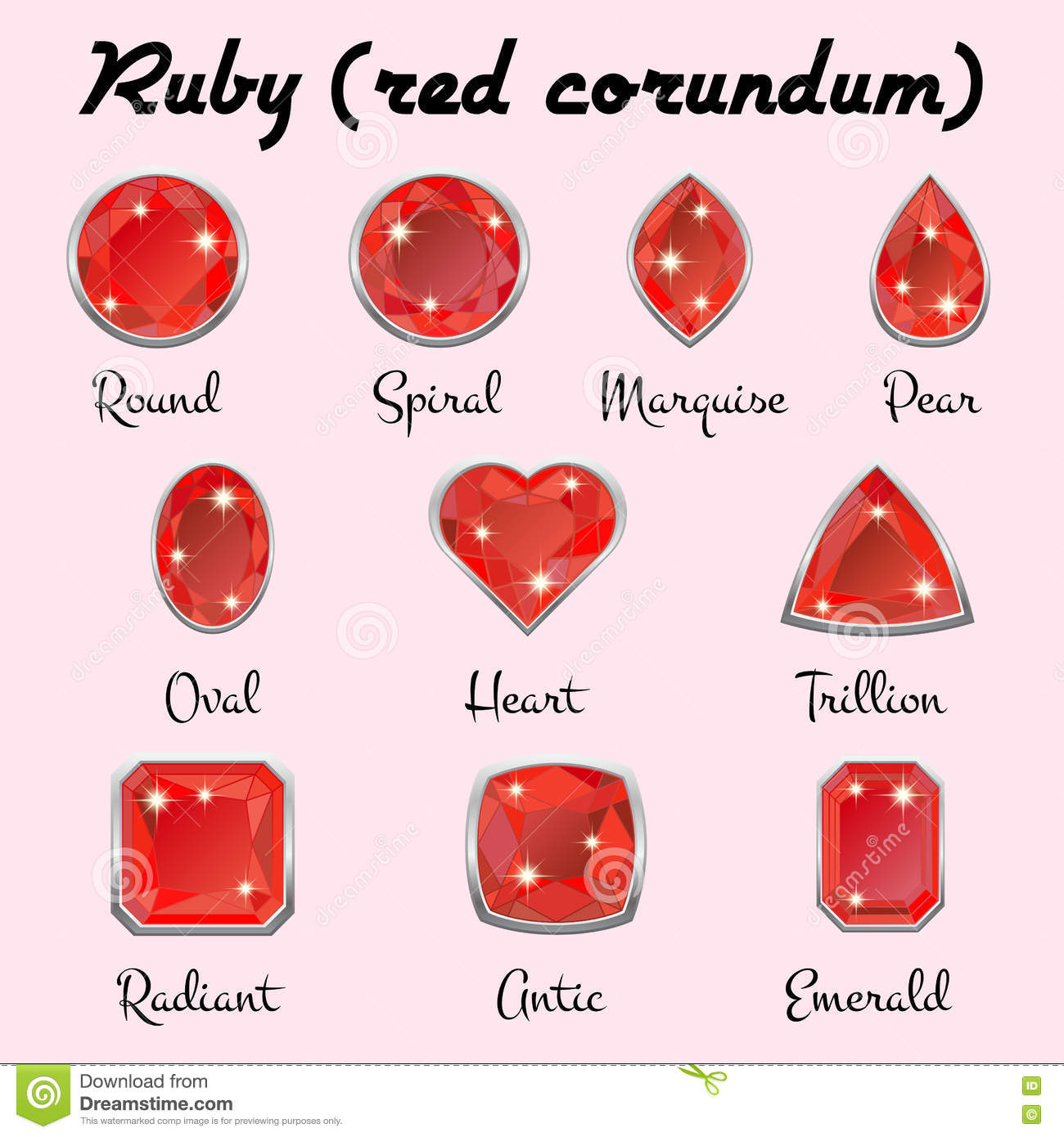 Types Of Cuts Of Ruby Stock Vector Illustration Of Heart