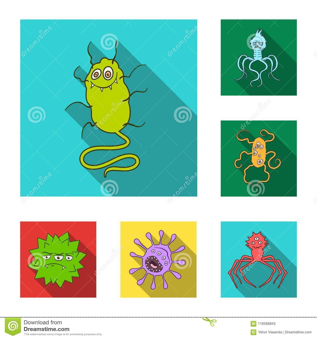 Types Of Funny Microbes Flat Icons In Set Collection For