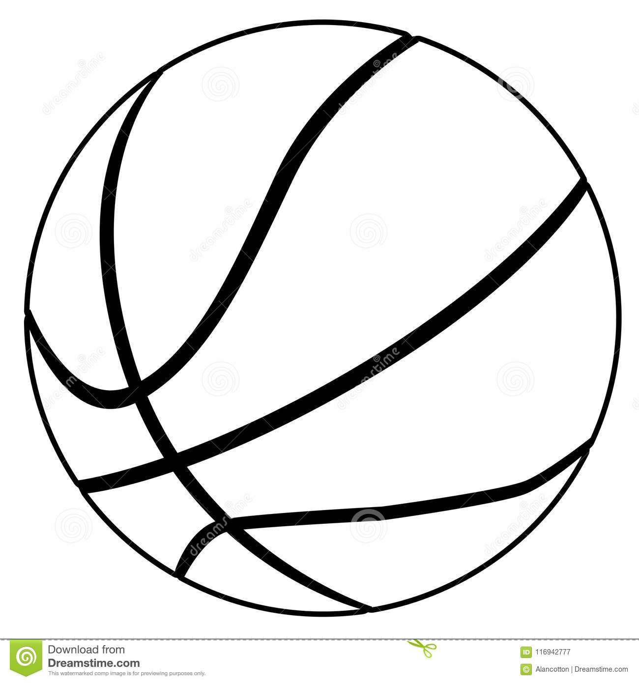 Black And White Basketball Line Drawing On White Stock