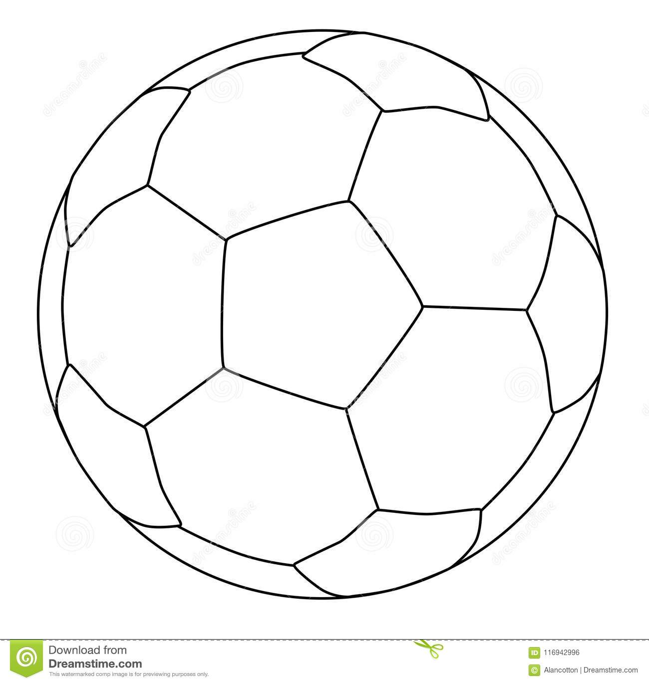 Soccer Ball Line Drawing Over A White Backgrond Stock