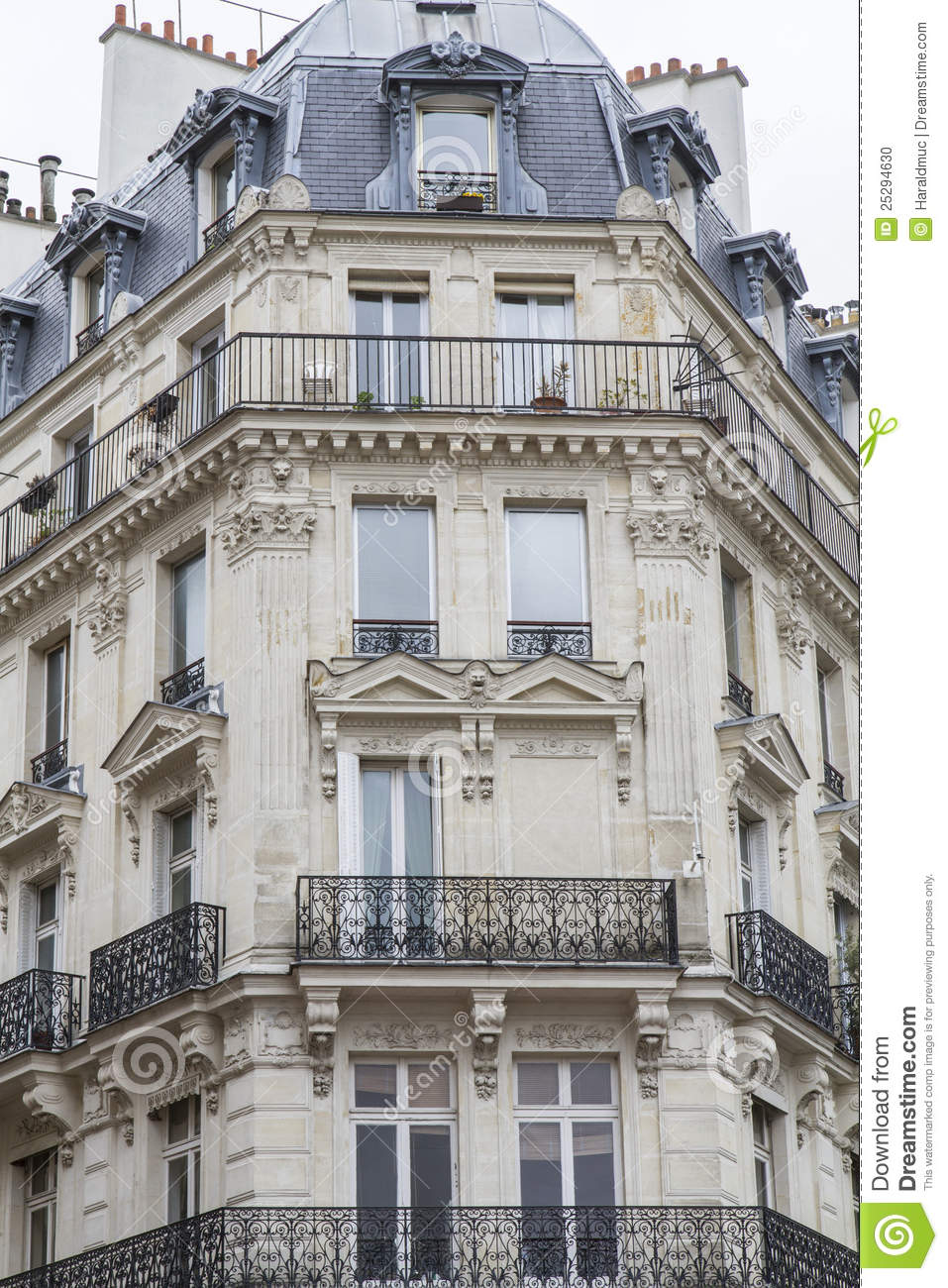 Typical Parisian Architecture Stock Photo  Image Of House