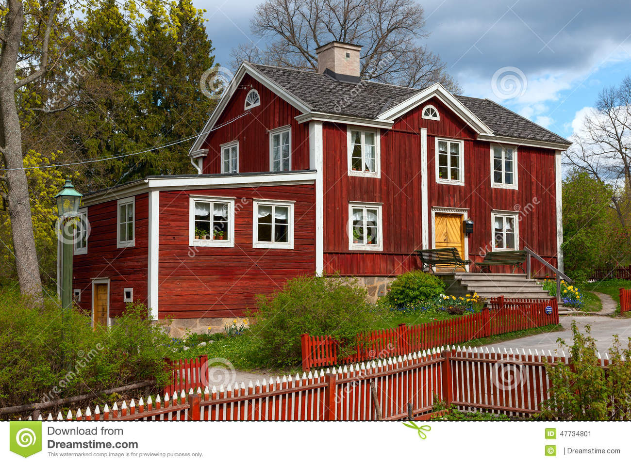 Typical Swedish Wooden House Stockholm Stock Photo