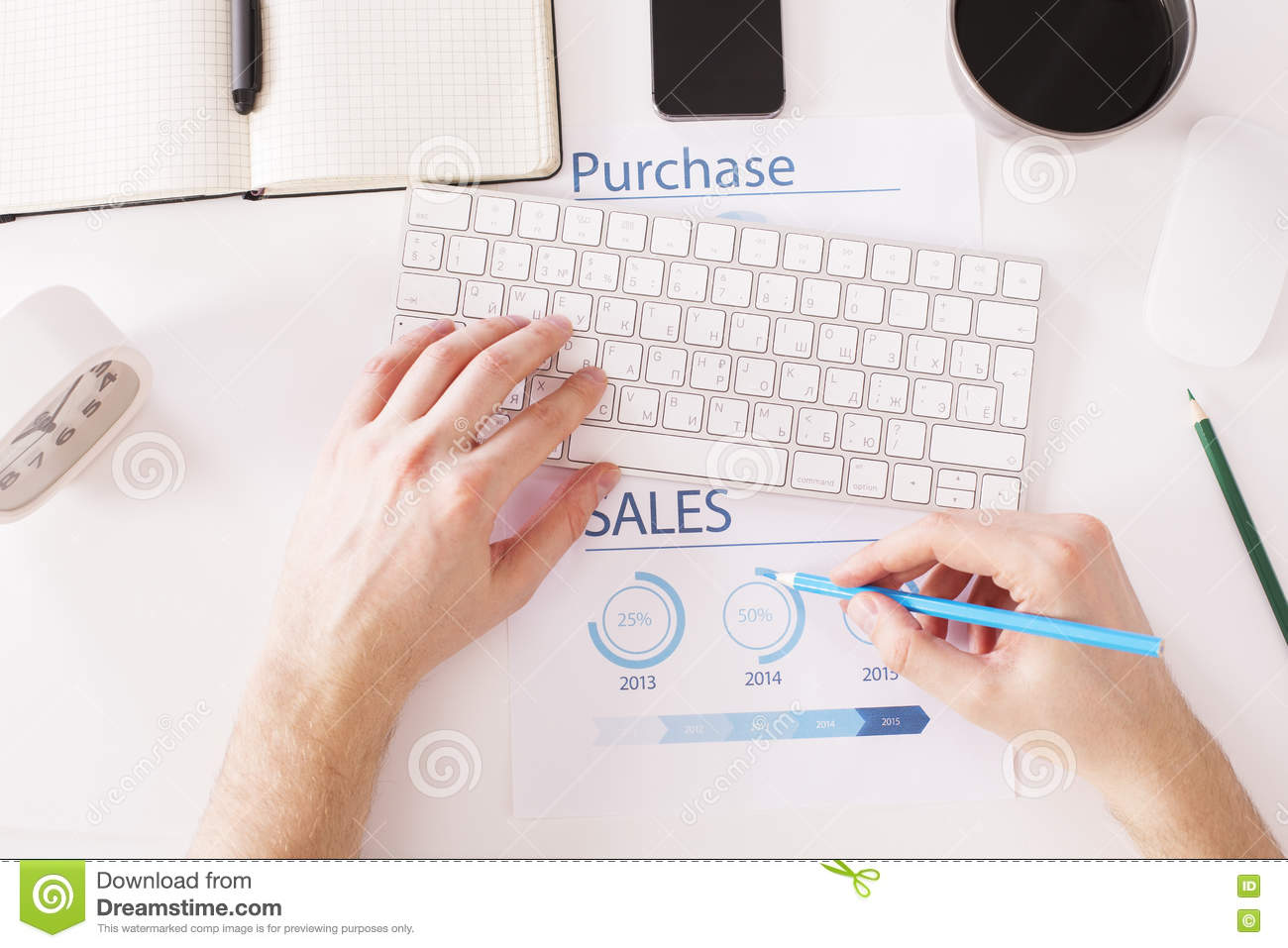 Typing And Drawing Pie Charts Stock Photo
