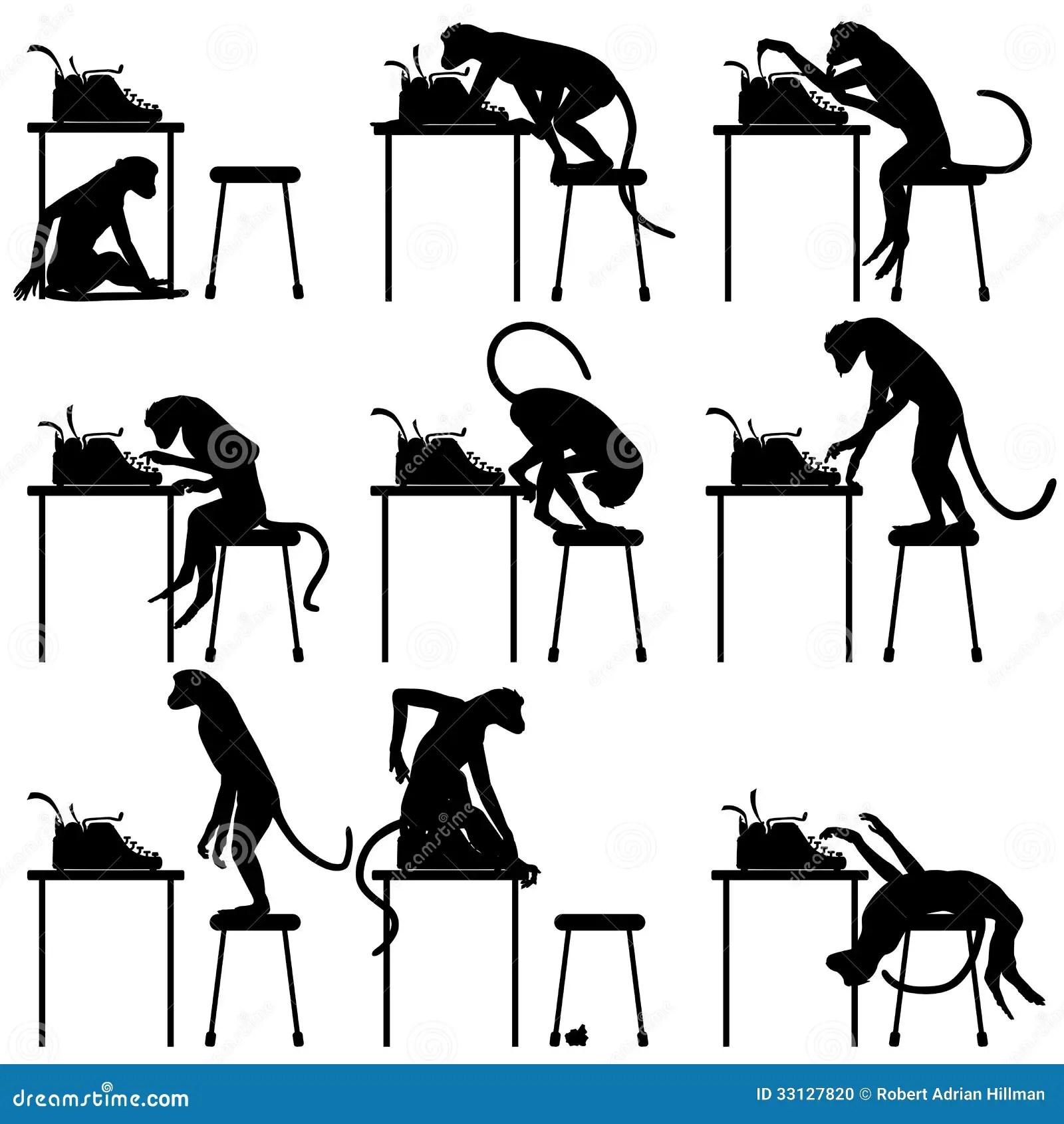 Typing Monkeys Stock Photo