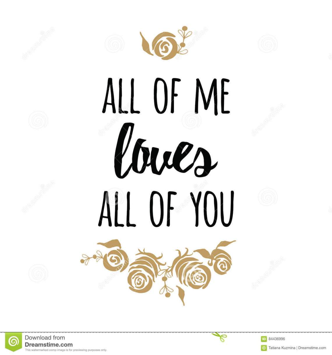 Download Typography Romantic Poster About Love. Vector Quote. Gold ...