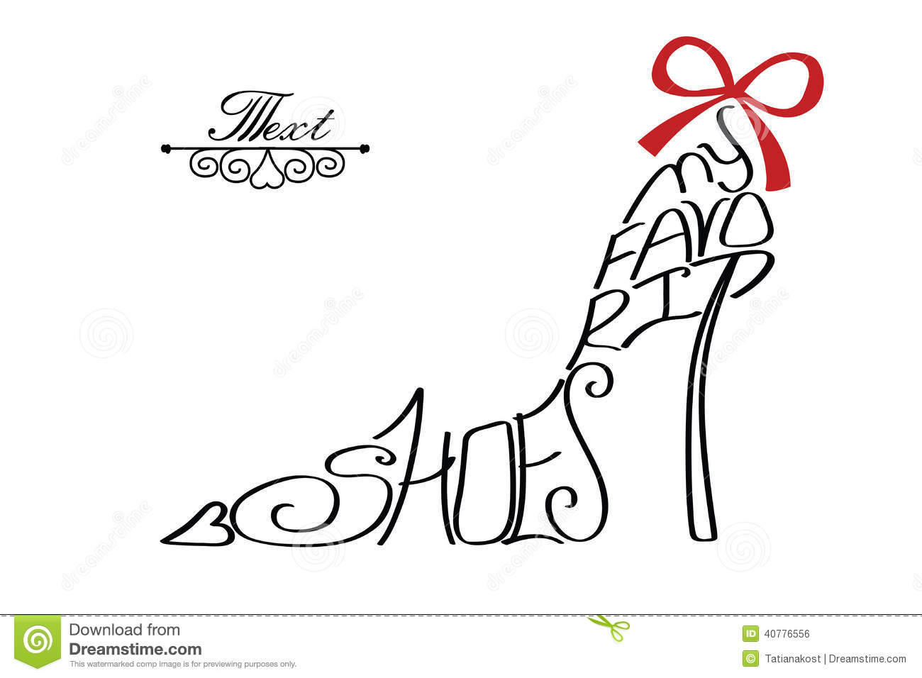 Typography Shoes Designlhouette Of Woman Shoes From